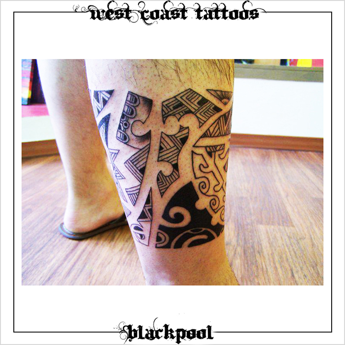 POLYNESIAN TATTOO ON LEG BY BLAN